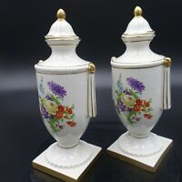 PAIR of Trenton Pottery Vases White/Gold trimmed w/ Lids