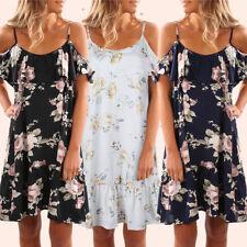 UK Womens Ladies Sundress Floral Skater Smock Summer Beach Skirt Midi Slip Dress