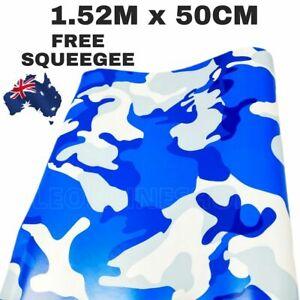 1.52M x 50CM CAMOUFLAGE BLUE CAR VINYL WRAP FILM ROLL STICKER DECAL AIR RELEASE