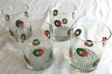 New listing Christmas Wreaths Morgan Signed Old Fashion Drinking Beverage Glasses Set Of 4