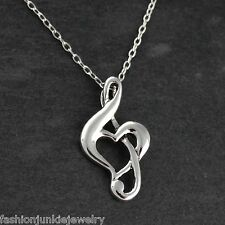 Treble Clef Heart Necklace - 925 Sterling Silver - Pendant Music Musician Love