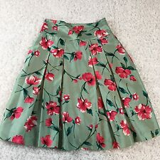 Express Full Pleated Skirt Womens 6 Green Pink Summer Floral Lined 100% Silk