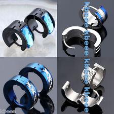 4 Pairs Punk Men's Stainless Steel Crystal Hoop Huggie Ear Studs Earring Jewelry