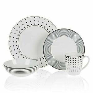 Mikasa Cheers 4-Piece Place Setting - Polka Dots - Spiral Stripes - Black White