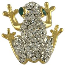 Gold Plated Clear Crystal Rhinestone Brooch MADE WITH SWAROVSKI ELEMENTS