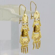 Dynamite gold filigree folding hinged 4-piece Mexican dangle earrings M-F
