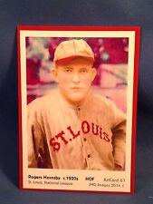 Rogers Hornsby, St. Louis, ArtCard #61 - Baseball card of HOF player c.1920's