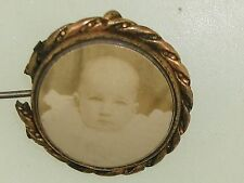 Picture Gold Filled Locket Pin! Antique Victorian Dated 1900 Baby