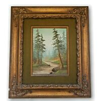 Vintage Painting Oil On Board Stream and Trees Scene Signed and Framed E Hubbell