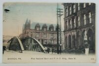 Sharon Pa First National Bank 13 Star Flag Cancel to Carsonville Pa Postcard N9