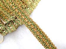 Trenza de oro y verde Silla Tela GIMP recorte para tapicería & Craft Por Metro