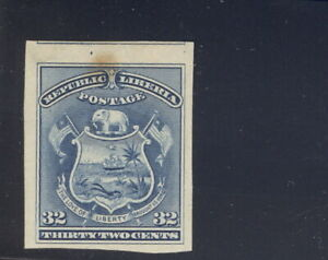 Liberia 1892, 32c coat of arms, IMPERFORATE COLOR TRIAL PROOF, RRR #46 Waterlow