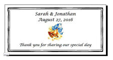 50 Personalized Rectangle Glossy Wedding Water Bottle Favor Labels Stickers 4x2""