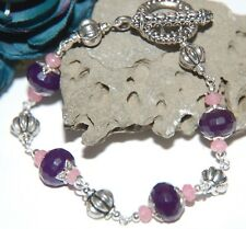 Pretty Faceted PURPLE & PINK JADE Tibetan Silver Linked Bracelet ~ toggle clasp