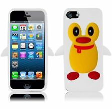 For Apple iPhone 5 5S SE Rubber SILICONE Soft Gel Skin Case Cover Penguin White