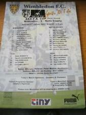 06/01/2001 Colour Teamsheet: Wimbledon v Notts County [FA Cup] (Folded, Writing