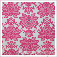 BonEful Fabric FQ Cotton Quilt VTG Cream Pink Rose Flower Damask Santorini Toile