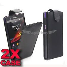 2 x Premium Slim Leather Flip Case Cover Pouch For Sony Xperia Z