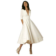 Vintage Women's Plunging V 1/2 Sleeve A-Line Wedding Prom Gown Swing Dress Ivory