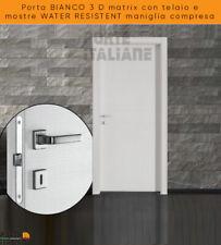Porta  BIANCO 3 D matrix con telaio e mostre WATER RESISTENT maniglia compresa