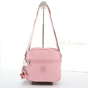 NWT Kipling HB6467 Keefe Crosbody Bag Double Zip Polyamide Strawberry Pink Tonal