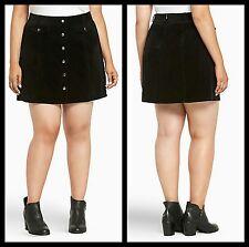 Torrid Women's Plus Size 16 Black Corduroy A-Line Mini Skirt. With Buttons(21-93