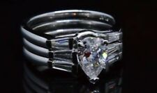 3.80 ctw Pear Cut Baguette Side Stones Diamond Engagement Ring w/ 2 Bands - GIA