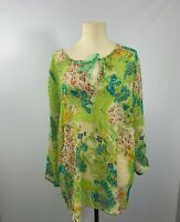Segal Womans Semi Sheer Tie neck Floral Blouse Long Sleeves Size Medium