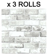 White Brick Effect Wallpaper Slate Wall 3D Weathered Stone Realistic 3 Roll Deal
