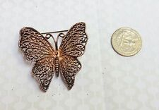 Vintage Estate Large Lacy Butterfly Brooch Pin Bridal Rose Gold Tones