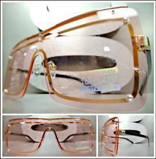 c7c05cc319 Grande Vintage Retro Estilo Escudo Gafas de Sol Dorado Montura Negra Rosa