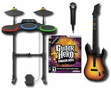 PS3 Guitar Hero SMASH HITS Band Set w/Drums/Guitar/Game/mic playstation-3 rock