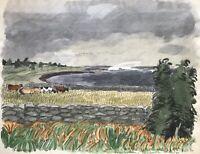 Karl Adser 1912-1995 Kühe am Meer Ostsee Küste Fågelmara Karlskrona Skane