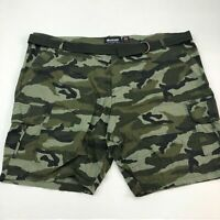 Ecko Unltd Cargo Shorts Mens 50 Green Waist Belt 100% Cotton Camouflage Zip Fly