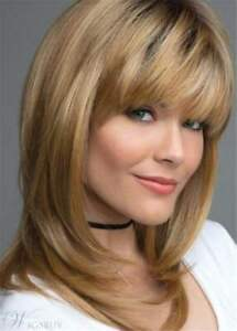 Layered Shag Hairstyle With Bangs Medium Brown Synthetic Capless Wigs