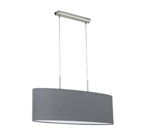 Eglo 31582 Pasteri Ceiling Pendant In Satin Nickel Finish With Grey Fabric shade