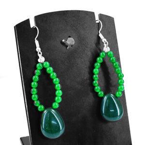 70.00 Cts Earth Mined Green Emerald Beads Designer Earrings - Free Shipping