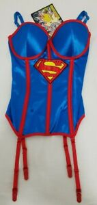 DC Comics Superman Corset Bustier Intimates Women's Red Blue Size Small New