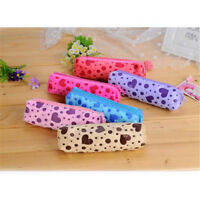 Candy Color Pencil Case Storage Dot Velvet Pen Bag Student Stationery Pouch LD