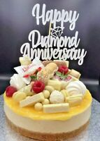 Cake Topper Diamond Wedding Anniversary 60 years Silver Glitter