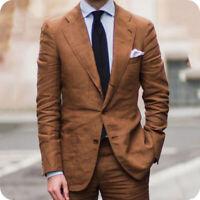 Brown Linen Men Suits Slim Fit Groom Tuxedo Latest Coat Pant Jacket Blazer 2 Pcs