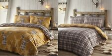 King Size Duvet Cover Set Tartan Stag Mustard Grey Checked Reversible Bedding