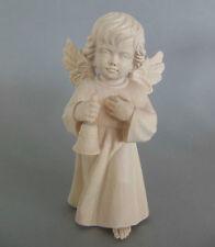 Engel mit Glocke ca. 14 cm hoch, Holz geschnitzt natur, Weihnachtsengel  505-14