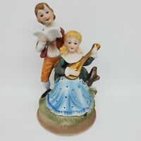 "Vtg Porcelain Figurine Colonial Lady Gentleman Couple Music Singing Lute 7.5""h"