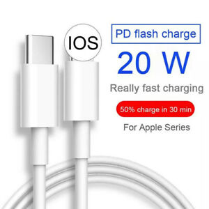 For iPhone 12 11 Pro Max XS 20W Power Adapter Fast Charger PD Cable USB-C Type-C