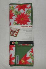 2 Kitchenaid Christmas Poinsettia Reversible Dish Drying Mats NWT FREE SHIPPING
