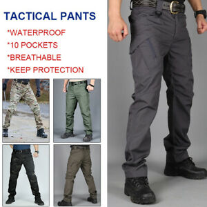Mens Waterproof Hiking Tactical Trousers Outdoor Walking Combat Pants Size S-2XL