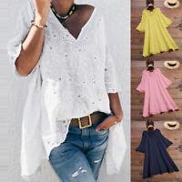 ZANZEA Women Hollow Out Cotton Long Shirt Tops Summer T-Shirt Blouse Plus Size