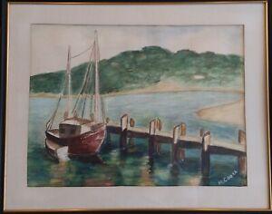 "Vtg Nautical Fishing Shrimp Boat Dock Watercolor Painting Signed ""COOKE""  Framed"