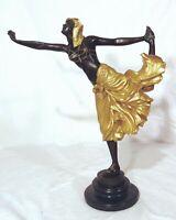 "European Bronze Finery Egyptian Woman Dancer Gold Colinet 16"" Figurine Sculpture"